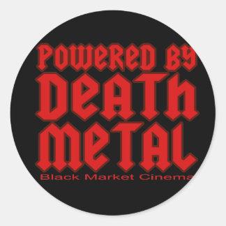 powered by Death metal Round Sticker