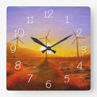 Powered by Wind Square Wall Clock