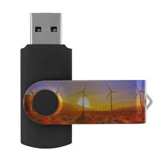 Powered by Wind Swivel USB 2.0 Flash Drive