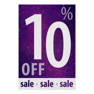 Powerful 10% OFF SALE Sign   Purple Glitter Poster