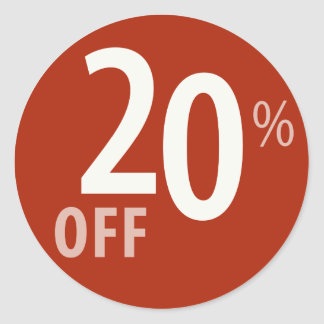 Powerful 20% OFF SALE Sign Classic Round Sticker