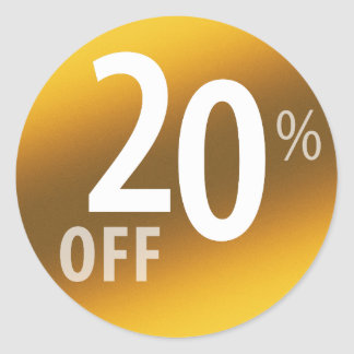 Powerful 20% OFF SALE Sign | Gold Round Sticker