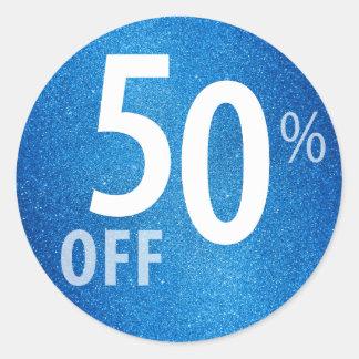 Powerful 50% OFF SALE Sign | Blue Glitter Round Sticker