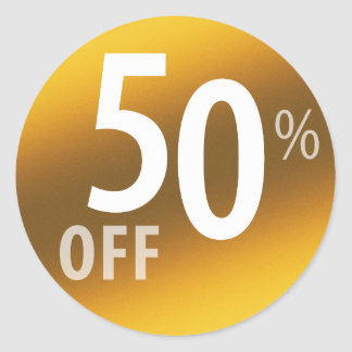 Powerful 50% OFF SALE Sign | Gold Round Sticker