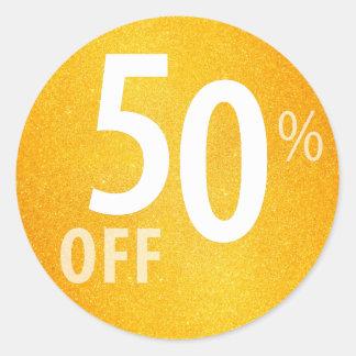 Powerful 50% OFF SALE Sign | Orange Glitter Round Sticker