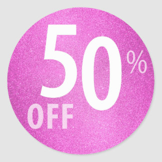 Powerful 50% OFF SALE Sign | Pink Glitter Round Sticker