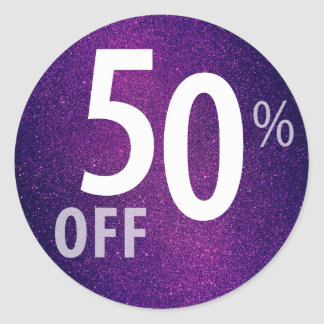 Powerful 50% OFF SALE Sign | Purple Glitter Round Sticker
