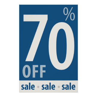 Powerful 70% OFF SALE Sign - retail sales poster