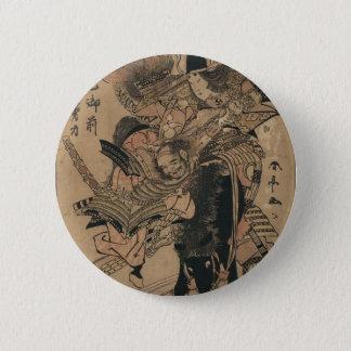 Powerful Female Samurai Defeating Male Samurai 6 Cm Round Badge