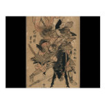 Powerful Female Samurai Defeating Male Samurai Post Card
