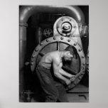 Powerhouse Mechanic Working On Steam Pump Poster
