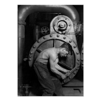 Powerhouse Mechanic Working On Steam Pump Poster