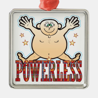 Powerless Fat Man Silver-Colored Square Decoration