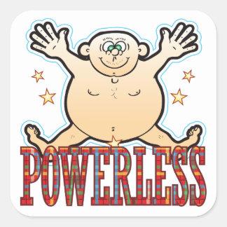 Powerless Fat Man Square Sticker