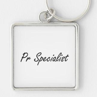 Pr Specialist Artistic Job Design Silver-Colored Square Key Ring