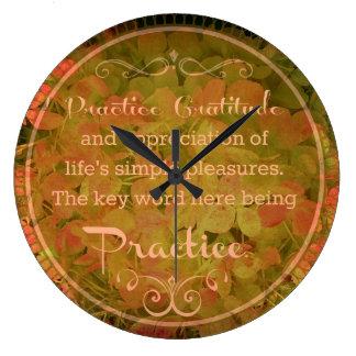 """""""Practice Gratitude"""" Wall Clock"""