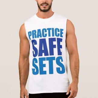 Practice Safe Sets - Lifting Gym Meme Sleeveless Tees