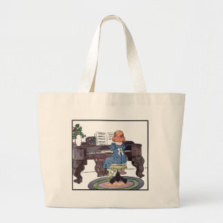 Practicing the Piano Large Tote Bag