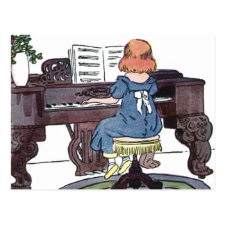 Practicing the Piano Postcard