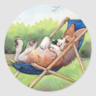 Practising for Summer - Corgi in a Deckchair Classic Round Sticker
