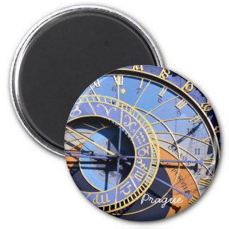 Prague, Astronomical Clock, Czech (Magnet) 6 Cm Round Magnet
