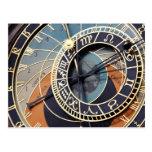 prague astronomical clock postcard