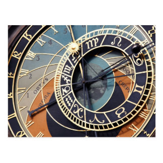 prague astronomical clock postcard