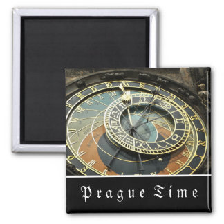 Prague Astronomical Clock Square Magnet