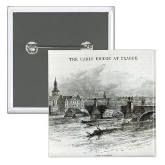 Prague Bridge, from 'Leisure Hour', 1891 15 Cm Square Badge