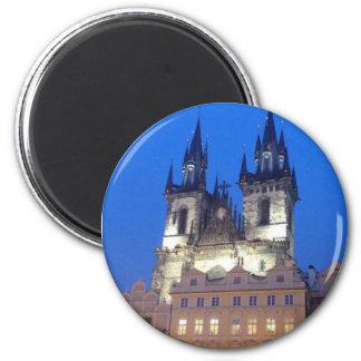 Prague by night 6 cm round magnet