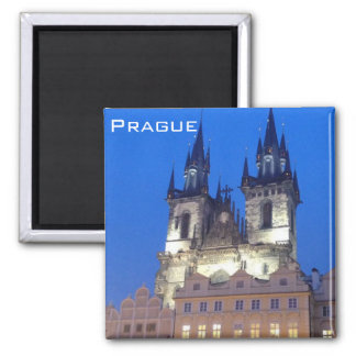 Prague by night square magnet
