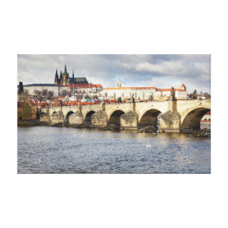 Prague Castle and Charles Bridge souvenir photo Canvas Print