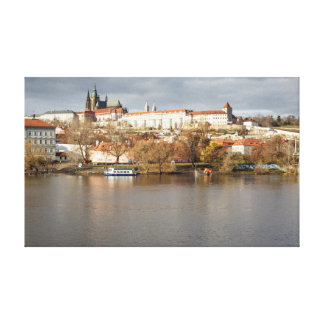 Prague Castle and River view souvenir photo Canvas Print