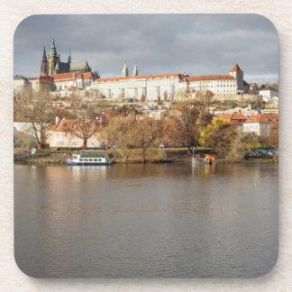 Prague Castle and River view souvenir photo Coaster