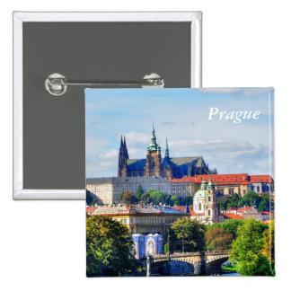 Prague castle panorama 15 cm square badge