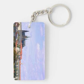 Prague castle panorama Double-Sided rectangular acrylic key ring