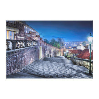 Prague Castle Stairs Night Canvas Canvas Print