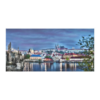 Prague Castle Vltava River Night Canvas