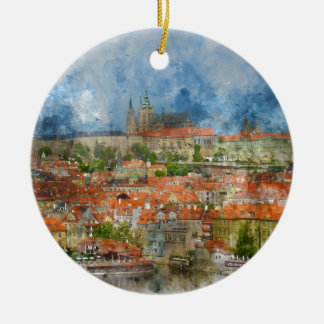 Prague Castle with famous Charles Bridge in Czech Round Ceramic Decoration
