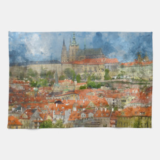 Prague Castle with famous Charles Bridge in Czech Tea Towel