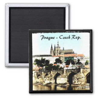 Prague - Charles Bridge, Castle (Magnet) Square Magnet