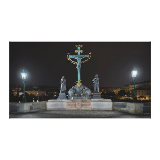 Prague Charles Bridge Jesus at the Cross at Night Canvas Print