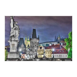 Prague Charles Bridge Night Canvas
