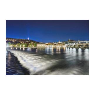 Prague Charles Bridge Vltava River Night Canvas