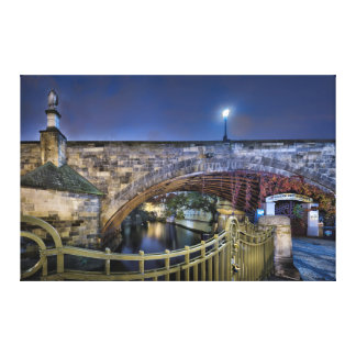 Prague Charles Bridge with Railing at Night Canvas Print