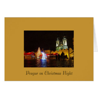 Prague Christmas Night Merry Christmas Card