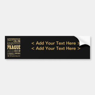 Prague City of Czech Republic Typography Art Bumper Sticker