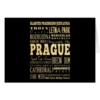 Prague City of Czech Republic Typography Art Card
