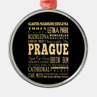 Prague City of Czech Republic Typography Art Christmas Ornament