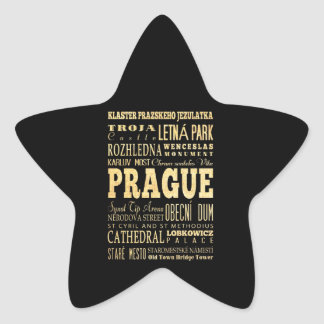 Prague City of Czech Republic Typography Art Star Sticker